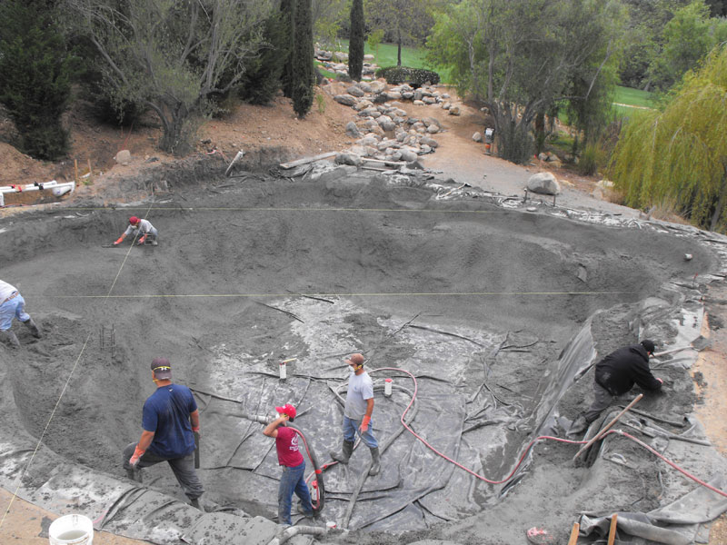 Current projects garcia rock and water design blog for Concrete koi pond construction